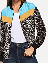Недорогие -Жен. Повседневные Классический Леопард Обычная Парка, Полиэстер Длинный рукав Зима Воротник-стойка Оранжевый / Желтый M / L / XL / Свободный силуэт