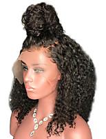 Недорогие -человеческие волосы Remy Полностью ленточные Парик Бразильские волосы Kinky Curly Черный Парик Стрижка каскад 130% Плотность волос / Природные волосы / Парик в афро-американском стиле