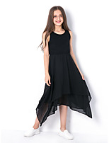 Недорогие -Дети Девочки Классический Повседневные Однотонный Без рукавов Платье Черный