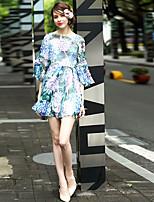 abordables -Femme Basique / Elégant Manches Evasées Asymétrique Courte Robe - Imprimé Printemps Eté Bleu S M L Manches 3/4