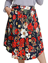 Недорогие -женский плюс размер асимметричный линейный юбки - геометрический