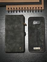 abordables -CaseMe Coque Pour Samsung Galaxy S8 Portefeuille / Porte Carte / Avec Support Coque Intégrale Couleur Pleine Dur faux cuir pour S8