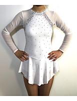 Недорогие -Платье для фигурного катания Жен. / Девочки Катание на коньках Платья Белый Пэчворк Спандекс Эластичность Соревнование Одежда для фигурного катания Классика Длинный рукав Фигурное катание