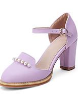 Недорогие -Жен. Полиуретан Весна Обувь на каблуках На толстом каблуке Лиловый / Розовый / Миндальный