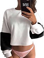 Недорогие -женская толстовка с длинным рукавом - сплошной цвет шею розовый с