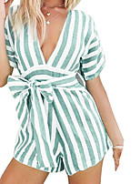 Недорогие -Жен. Повседневные Классический Зеленый Розовый Комбинезоны, Однотонный / Полоски M L XL С короткими рукавами