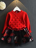 Недорогие -Дети Девочки Классический Повседневные Однотонный Длинный рукав Платье Красный