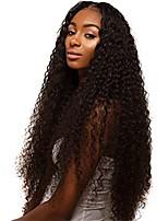 Недорогие -Не подвергавшиеся окрашиванию человеческие волосы Remy Полностью ленточные Парик Бразильские волосы Kinky Curly Парик Стрижка каскад Средняя часть Боковая часть 150% Плотность волос