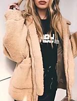 Недорогие -Жен. Повседневные Классический Обычная Пальто, Однотонный Рубашечный воротник Длинный рукав Полиэстер Черный / Хаки S / M / L