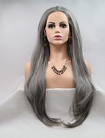 Недорогие -Синтетические кружевные передние парики Жен. Loose Curl Темно-серый Стрижка каскад 130% Человека Плотность волос Искусственные волосы 24 дюймовый Женский Темно-серый Парик Длинные Лента спереди Серый