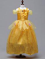 abordables -Belle Costume de Cosplay Fille Enfant Robes Noël Halloween Carnaval Fête / Célébration Tulle Coton Tenue Jaune Princesse
