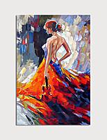 abordables -Peinture à l'huile Hang-peint Peint à la main - Abstrait Personnage Moderne Sans cadre intérieur / Toile roulée