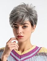 Недорогие -Парики из искусственных волос Жен. Естественный прямой Темно-серый Стрижка под мальчика Искусственные волосы 8 дюймовый Модный дизайн / Новое поступление / Удобный Темно-серый Парик Средняя длина