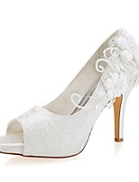 abordables -Femme Satin Printemps été Chaussures de mariage Talon Aiguille Bout ouvert Perle Ivoire / Mariage / Soirée & Evénement