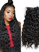 Недорогие -4 Связки Бразильские волосы Волнистые Натуральные волосы Wig Accessories Человека ткет Волосы Уход за волосами 8-28 дюймовый Естественный цвет Ткет человеческих волос Машинное плетение