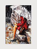 Недорогие -Hang-роспись маслом Ручная роспись - Абстракция Люди Modern Без внутренней части рамки / Рулонный холст
