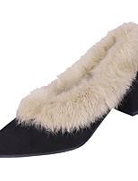 Недорогие -Жен. Искусственный мех / Полиуретан Зима Минимализм Обувь на каблуках На толстом каблуке Заостренный носок Черный / Розовый