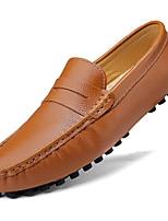 Недорогие -Муж. Кожаные ботинки Кожа Весна & осень На каждый день / Английский Мокасины и Свитер Массаж Черный / Коричневый / Синий