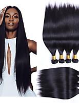 Недорогие -4 Связки Бразильские волосы Прямой Натуральные волосы Wig Accessories Человека ткет Волосы Уход за волосами 8-28 дюймовый Естественный цвет Ткет человеческих волос Машинное плетение