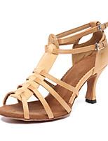 Недорогие -Жен. Обувь для латины Сатин На каблуках Кубинский каблук Персонализируемая Танцевальная обувь Хаки