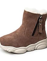 Недорогие -Девочки Обувь Свиная кожа Зима Зимние сапоги Ботинки Молнии для Дети Черный / Хаки