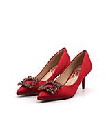 Недорогие -Жен. Полиэстер Весна & осень Свадебная обувь На шпильке Заостренный носок Стразы Темно-красный / Свадьба