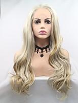 Недорогие -Синтетические кружевные передние парики Жен. Естественные кудри Золотистый Стрижка каскад 130% Человека Плотность волос Искусственные волосы 24 дюймовый Женский Золотистый Парик Длинные Лента спереди