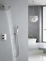 Недорогие -Смеситель для душа - Современный Матовый никель Монтаж на стену Медный клапан Bath Shower Mixer Taps / Латунь / Две ручки три отверстия