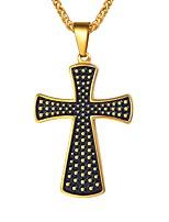 Недорогие -Муж. Классический Ожерелья с подвесками - Нержавеющая сталь Крест Классика Золотой, Серебряный 55 cm Ожерелье Бижутерия 1шт Назначение Подарок, Повседневные