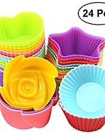Недорогие -Инструменты для выпечки кремнийорганическая резина Своими руками Для торта Круглый Формы для пирожных 24pcs