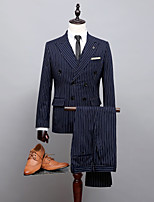 billiga -Randig Standardpassform Polyester Kostym - Spetsig Dubbelknäppt m. sex knappar