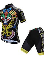 Недорогие -TELEYI С короткими рукавами Велокофты и велошорты - Черный / желтый Велоспорт Быстровысыхающий азиатский / Эластичная