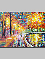 abordables -Peinture à l'huile Hang-peint Peint à la main - Abstrait Paysage Moderne Inclure cadre intérieur / Toile tendue