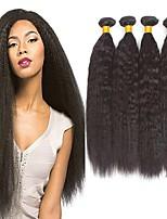 Недорогие -4 Связки Бразильские волосы Индийские волосы Вытянутые Не подвергавшиеся окрашиванию человеческие волосы Remy Человека ткет Волосы Пучок волос One Pack Solution 8-28 дюймовый Естественный цвет
