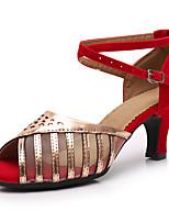 Недорогие -Жен. Обувь для латины Синтетика На каблуках Планка Кубинский каблук Персонализируемая Танцевальная обувь Золотой