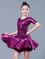 abordables -Danse latine Robes Fille Utilisation Polyester / Elasthanne Noeud en satin Demi Manches Robe / Ceinture