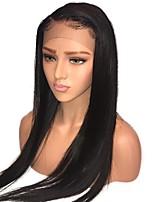 Недорогие -человеческие волосы Remy Лента спереди Парик Индийские волосы Шелковисто-прямые Черный Парик Стрижка каскад 130% Плотность волос с детскими волосами Природные волосы Необработанные Черный Жен. Длинные