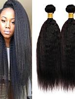 Недорогие -3 Связки Малазийские волосы Яки / Вытянутые Натуральные волосы Подарки / Человека ткет Волосы / Уход за волосами 8-28 дюймовый Естественный цвет Ткет человеческих волос Машинное плетение