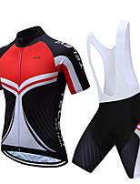 abordables -TELEYI Manches Courtes Maillot et Cuissard à Bretelles de Cyclisme - Blanc / Noir Vélo Séchage rapide Couleur Pleine / Elastique
