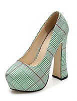 Недорогие -Жен. Полотно Весна & осень На каждый день Обувь на каблуках На толстом каблуке Круглый носок Серебряный / Красный / Зеленый
