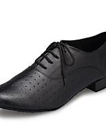 Недорогие -Муж. Обувь для латины Кожа На каблуках Планка Толстая каблук Танцевальная обувь Черный