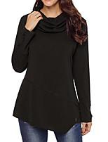 Недорогие -женская толстовка с длинным рукавом - сплошной цвет шею красный с
