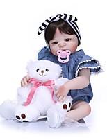 Недорогие -NPKCOLLECTION NPK DOLL Куклы реборн Девочки 24 дюймовый Полный силикон для тела Силикон - как живой Подарок Искусственная имплантация Коричневые глаза Детские Девочки Игрушки Подарок