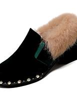 Недорогие -Жен. Кролик / Полиуретан Зима На каждый день Обувь на каблуках На толстом каблуке Черный / Зеленый