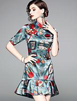 baratos -Mulheres Festa Elegante Bainha Vestido - Estampado Colarinho Chinês Acima do Joelho