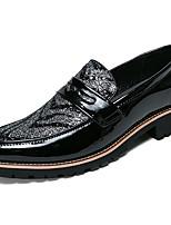 Недорогие -Муж. Официальная обувь Синтетика Весна & осень Деловые / Английский Мокасины и Свитер Нескользкий Черный / Черный / Красный