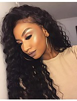 Недорогие -человеческие волосы Remy Полностью ленточные Лента спереди Парик Бразильские волосы Афро Квинки Парик Ассиметричная стрижка 130% 150% 180% Плотность волос
