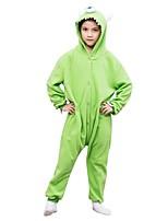 baratos -Pijamas Kigurumi Monstro Pijamas Macacão Lã Polar Verde Cosplay Para Meninos e meninas Pijamas Animais desenho animado Festival / Celebração Fantasias