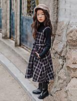 Недорогие -Дети Девочки Милая Повседневные Этно Без рукавов Средней длины Полиэстер Платье Черный