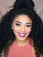 Недорогие -человеческие волосы Remy Полностью ленточные Лента спереди Парик Бразильские волосы Афро Квинки Глубокий курчавый Черный Парик Ассиметричная стрижка 130% 150% 180% Плотность волос / Природные волосы